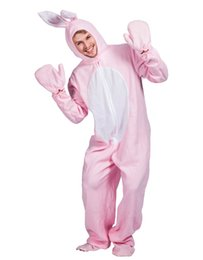 Halloween Pink Bunny Pajama Rabbit Jumpsuit with Hood Adult Animal Pyjamas  Cosplay Costume Halloween Decoration Party Stage Prop Apparel c560bba64