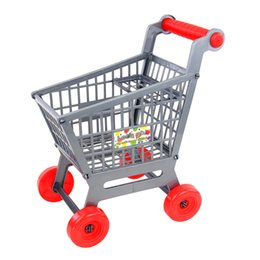 детские игрушки для мальчиков Скидка New Miniature Supermarket Shopping Hand Trolley Cart for Kids Role Play Toy Gray Pretend Play Doll House Decor Dolls Accessory
