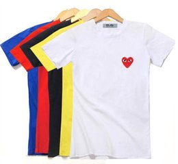 Wholesale Girls Fashion T Shirts - European and American 2018 tide brand CDG teenager boys and girls short sleeved T-shirts street fashion lovers short sleeved t-shirts
