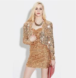 Cardigan largo de lentejuelas negro online-Mujeres de primavera de manga larga abrigo corto corto de lentejuelas brillantes Bolero Shrug Cardigan chaqueta oro negro plata Retro Blazer Party Wear