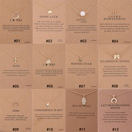 Wholesale gold plated necklace pendant women - 12 Styles Dogeared choker Necklaces With card Gold Circle Elephant Pearl Love Wings Cross Key Pendant Necklace For Fashion women Jewelry