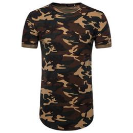 Wholesale green camouflage shirt - Summer Kanye Extend T shirt High Street Fashion Men Longlines Crew Neck T shirt Camouflage Printed Top Clothing Men Shirts