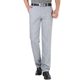 мужские офисные цвета Скидка Summer Linen Business Casual Pants For Men Big Size Male Formal Classic Breathable 9 Colors Thin Office Suit Trousers For Mens