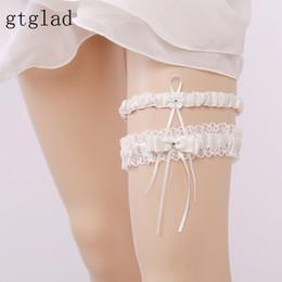 Wholesale Vintage Bridal Garters - gtglad Ivory Sexy Women Garters Pearls Flowers Lace Garters Floral Bowknot Wedding Bridal Leg Belt Garter Vintage Style