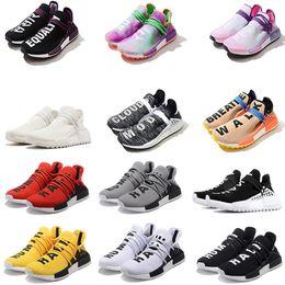 Wholesale blank fabrics - Best quality cheap HU Human Race trail Running Shoes Men Women Pharrell Williams Holi Blank Canvas Equality trainers fashion sports sneakers