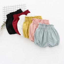 Wholesale Toddler High Waist Shorts - INS Baby kids shorts 2018 summer new girls falbala ruffle high waist PP shorts toddler kids elastic lantern short pants 6 colors A00301