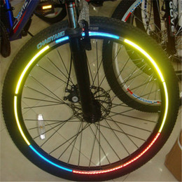 reflective bike decals Coupons - 8pcs pack Reflective Stickers Motorcycle Bicycle Reflector Bike Cycling Security Wheel Rim Decal Tape Safer velo