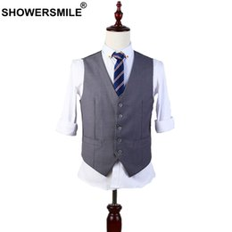 Wholesale men s gray dress vests - SHOWERSMILE Summer Style Gray Suit Vest For Men Business Formal Waistcoat Slim Fit Autumn Dress Vests Male Sleeveless Jacket