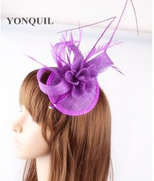 Wholesale Fascinator Gold - 18 colors generous party hats fascinator ostrich quill headpiece cocktail dance headwear bridal hat suit for all season OF1546