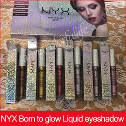 Wholesale golden rose cosmetics - NYX Born To Glow Liquid Eyeshadow Kit Makeup Set Brands Highlighter Eye Shadow Cosmetics Celestial Sun Beam Lris Rose Rose Gold 24K Golden