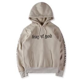 Mens fleece largo online-Otoño Nuevas llegadas Miedo de Dios Sudaderas con capucha de lana para hombre Ropa de manga larga Pullover Kanye West FOG Tops