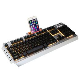 Ordinateur matériel en Ligne-Clavier d'ordinateur de clavier de jeu filaire d'USB pour le matériel de silicone métallique se sentent lueur d'arc-en-ciel pour le café Internet / jeu