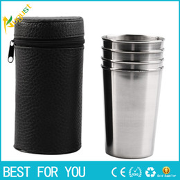 Wholesale New Tea Set - New hot 1 Set of 4 Stainless Steel Portable Leather Cover Camping Cup Mug Drinking Coffee Tea Beer Drink Cup
