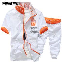 Wholesale long short sleeve cardigan - Misniki 2018 Summer Fashion Tracksuit Men Set Short Sleeve Casaul Slim Fit Sporting Suit Men Masculino (Asian Size )