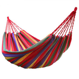 Tela di canapa doppia online-Amaca portatile da esterno 200x150 da giardino Home page da viaggio sportivo da campeggio Swing Canvas Stripe Hang Bed Double Hammock