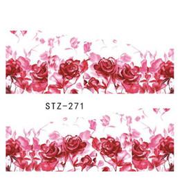 Wholesale Nail Art Sheets - High Quality water transfer 1 Sheets Women Pretty Pink Rose Flower Decals Stickers DIY Water Transfer Tattoos Nail Art Full Sticker STZ271