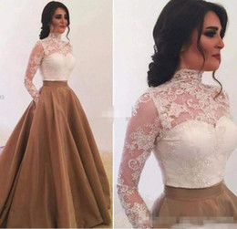Wholesale Elegant Short Feather Prom Dresses - Elegant High Neck Long Sleeves Evening Dresses with Pockets Saudi Arabia Lace Appliques Ball Gown Prom Gowns Special Occasion Dress