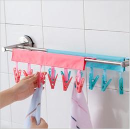 Pinzas de ropa online-Suspensión de ropa multicolor y eficiente con 6 abrazaderas de viaje de negocios plegable herramienta portátil de tela del hogar