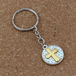Wholesale Travel Iron Wholesale - 20pcs Keychain Crucifix Cross Religion Charms Pendant Keychain Travel Protection 19.5x70mm Pendant DIY Jewelry A-265f