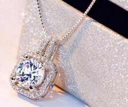 подвеска с бриллиантами Скидка Горячий стиль сверкающий Кристалл Циркон квадратный Алмаз кулон ожерелье ключицы цепи посеребренные короткое ожерелье стильный классический изысканный