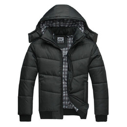 Wholesale Padded Hat - winter jacket men quilted black puffer coat warm fashion male overcoat parka outwear polyester padded hooded Winter coat