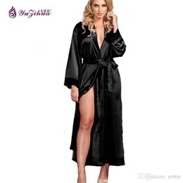 big women nightgown Canada - Wholesale-Big Silk Robes For Women Bathrobe  Satin Robe Sexy f8d2a3cb8