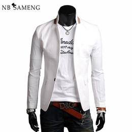 Wholesale White Linen Suit Jacket - Mens Blazers Male Suit Fashion 2017 European Slim Fit Casual Linen Single Button Blazer Jacket Traje Hombre 13M0569