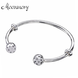 Wholesale Sterling Silver Screw Beads - Moonmory Fashion Open Bangle with Screw Caps Original 925 Sterling Silver bead Bracelet with Clear Zircon For Woman Diy Jewelry