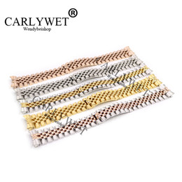 Wholesale silver ends for bracelets - CARLYWET 20mm 316L Stainless Steel Jubilee Silver Two Tone Rose Gold Wrist Watch Strap Bracelet Solid Screw Links Curved End