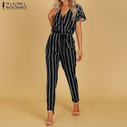 934f4bc72a3 Discount plus size bodysuits rompers - ZANZEA 2018 Elegant Rompers Women  Jumpsuit Female Striped Pants Office