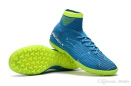 Wholesale Cr7 White Indoor Shoes - Mercurial Superfly V SX Neymar TF Blue Green Soccer Shoes CR7 Mercurial Champions FG Soccer Cleats NJR High Ankle Indoor Shoes