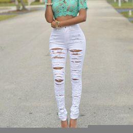 Wholesale Purple Jeans Women - Wholesale- 2016 High Elastic Women's Black High Waist Torn Jeans Ripped Hole Knee Skinny Pencil Pants Slim Trousers
