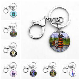 Wholesale men rings gem - 30 colors fortnite Keychain Classic FPS Game Key Ring Toy Gifts Alloy Metal Time Gem Pendant Keyring for Men Women Key Chain Souvenir