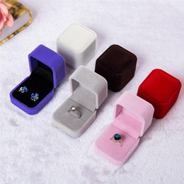jewellery ring display case Promo Codes - Ring Earring Box Velvet Valentine Gift Display Jewellery Case wedding accessories 9 Colors Widget Box 4.5*4.5*5cm