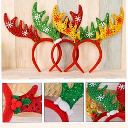 2019 ornamentos de animais por grosso Atacado Multicolor Antler Fivela de Malha de Natal Não-tecidos Headband Dos Desenhos Animados Enfeites de Natal Coloridos Decorações de Natal 200 pcs CHB7 ornamentos de animais por grosso barato