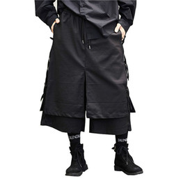 Japan mode hose männer online-Männliche Art und Weise beiläufige Harem-Hosen-Stadiums-Abnutzungs-breite Bein-Hosen-Punk-Hip Hop-Kostüm-Mann-Japan-Art-Kimono-Rock-Hose