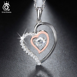 Wholesale Ct Heart - Orsa Jewels Genuine 925 Silver Double Heart Pendant Necklace With 0 .3 Ct Crystal Rhodium Mixed Rose Gold Color Necklaces Sn15
