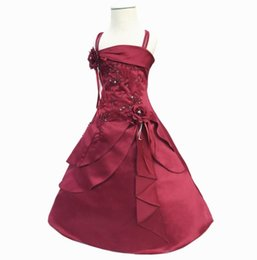 kids red evening gowns Promo Codes - New Flower Girl Dresses with Hoop Inside Kids Embroidery Satin Beaded Long Party Evening Ball Gown Children Formal Clothes