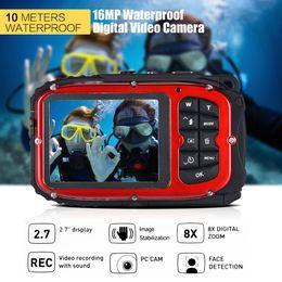 "Wholesale Mini Digital Video Camera Waterproof - 16MP 2.7"" LCD Waterproof Digital Video Camera Portable Mini Camcorder DV Underwater 10M Diving 8X Digital Zooming Face Detection"