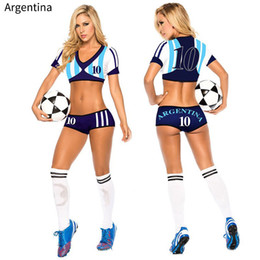 traje de uniforme de fútbol Rebajas Lady Football Baby High School Girl Sexy Cheerleader Jersey traje Top Shorts Set Player Uniforme de fútbol Desgaste de la ropa para mujeres Y18110504