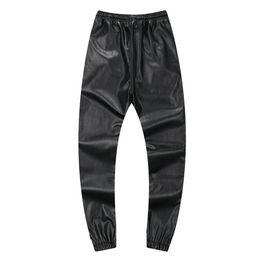 Pantalon de jogging en cuir pu en Ligne-Automne Hiver Hommes Hiphop Danse Pantalon PU En Cuir Joggers Noir Rouge Argent Hommes Joggeurs Pantalon de Survêtement Occasionnel Hip Hop Pantalon de Survêtement Taille 30-42