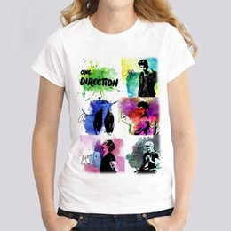 Wholesale One Direction Bands - One direction female t-shirt band music Women T-shirt 2017 short Sleeve O-neck Printed Casual Tops tees fashion