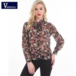 Wholesale Japanese Floral Shirts - 2018 vangull Spring&summer sweet lady woman Printed flowers Japanese style fashion casual Tops & Tees long sleeve chiffon shirt