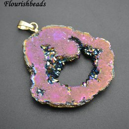 Wholesale Druzy Slice Pendant Gold - Rainbow Color Electroplating Natural Geode Druzy Agate Slice Freeform Stone Pendants Fit Necklace Making Free shipping