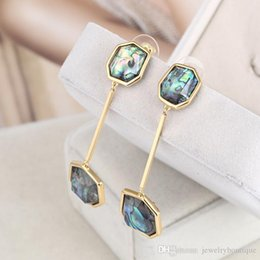 Wholesale Filling Materials - New arrival brand name brass material Nature colorful geomstone style dangle earrings Women jewelry gift free shipping PS5753