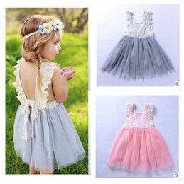 Wholesale wholesale net evening dresses - Kids Clothing Girls Dress Summer Lace Net Flower Children Wedding Bowknot Party Tulle Dresses Sleeveless Kid Evening Baby Clothes for Girl