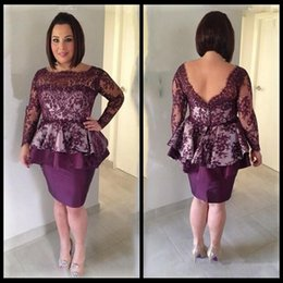 Wholesale Bride Low Mother - Grape Lace Mother Dresses Low Back Illusion Long Sleeves Short Mother Of Bride Gowns Knee Length Women Formal Party Evening Dress