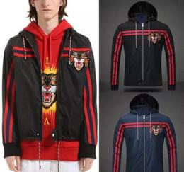 Wholesale full zip hood - Lightweight Nylon Hooded Windbreaker Jacket Man Striped Embroidery Angry Cat 2018 Hot Sale Hood Full Zip Nylon Wear Top SIZE S-XXXL