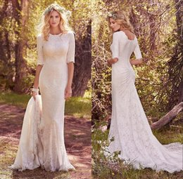 Wholesale Bateau Neckline Lace Wedding Dress - 2018 Spring Country Wedding Dress Bride Half Sleeves Jewel Neckline Full Lace Elegant Sheath Full Back Chapel Train