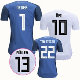Wholesale Green German - 2018 Deutschlan German Jersey Home Soccer Jerseys Goapkeeper Muller SCHWEINSTEIGER OZIL Kroos HUMMELS REUS SANE Gotze Neuer Keeper Shirts